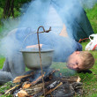 Stock Photo: Guy plants a fire