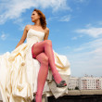 chica en vestido de novia — Foto de Stock
