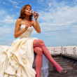 Stock Photo: Womin wedding dress
