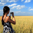 Girl photographes the nature — Stock Photo