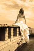 Woman on a roof — Stock Photo
