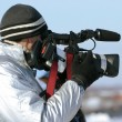 Stock Photo: Journalist with videocamera