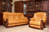 Yellow sofa and armchair — Stockfoto