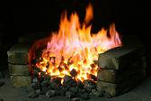 Burning black coal — Stock Photo