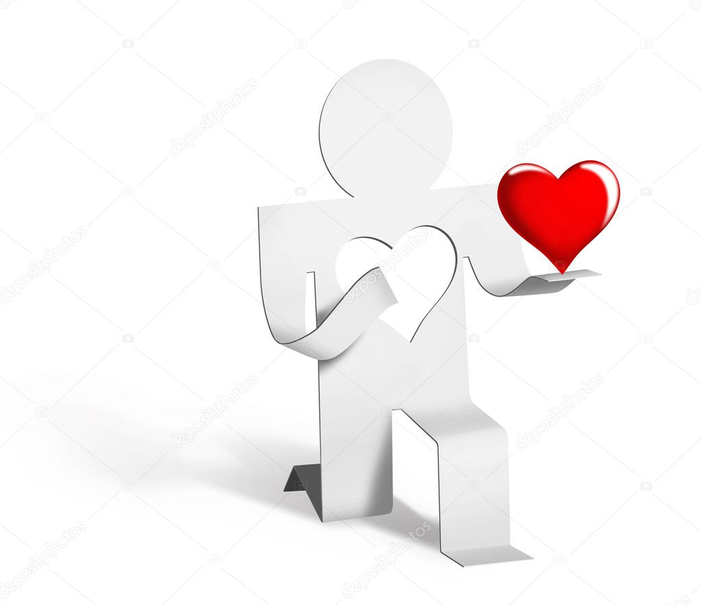 Man stretched out (gives) his loving heart  Stock Photo #1819214