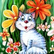 Cat in flowers — Stock Photo #2213304