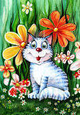 Cat in flowers — Stock Photo