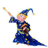 Boy wizard with magic wand — Stock Photo