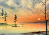 Lake sunset painting — Stock Photo