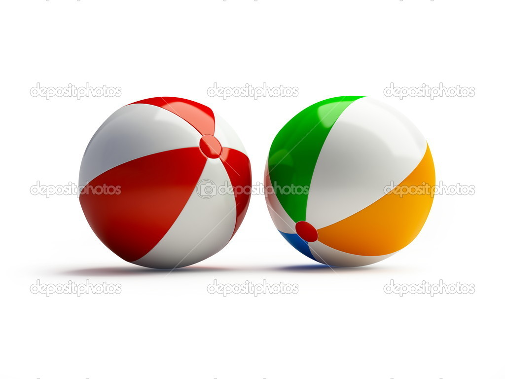 Beach ball on a white background  Stock Photo #1082024