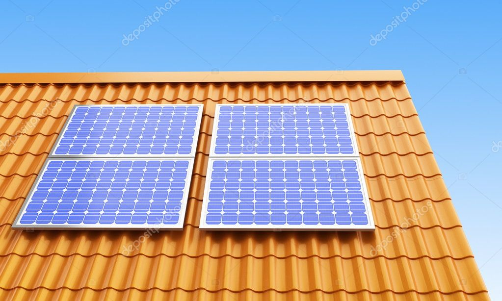 Roof solar panels on a background sky — Stock Photo #1083797