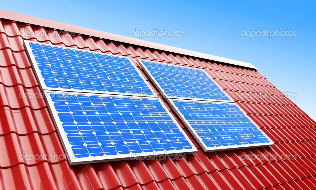 Roof solar panels  Foto de Stock   #1098631