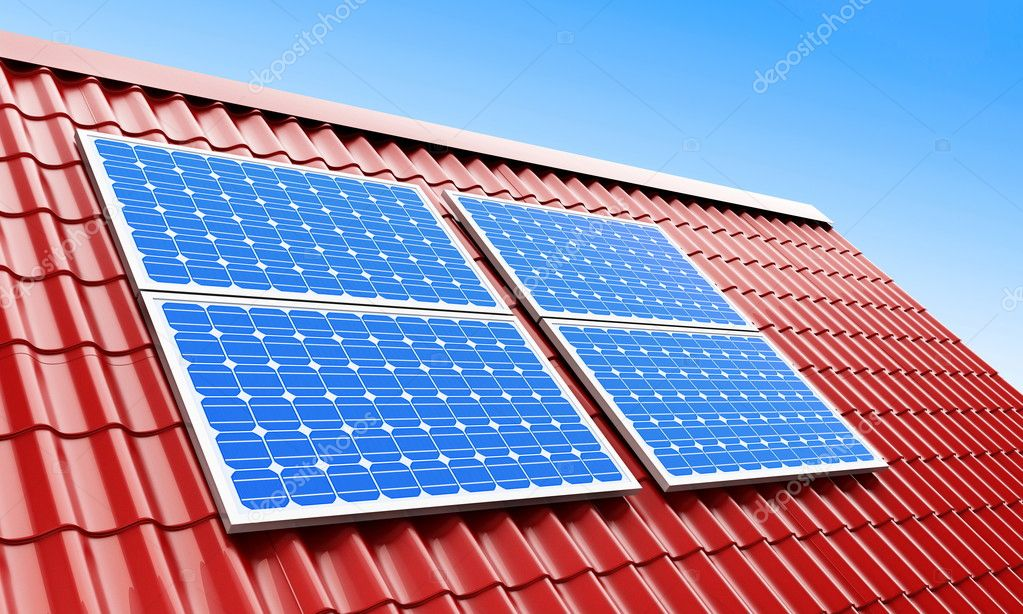 Roof solar panels — Foto de Stock   #1098631