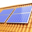 Roof solar panels — Stockfoto