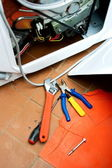 Repair of washing machine — Foto de Stock