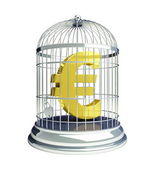 Euro in a cage for birds — Stock Photo