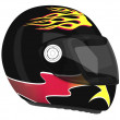 Moto helmet with flame | 3D — Stock Photo