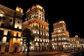 Beautifully illuminated buildings — Stock Photo