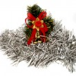 Christmas decoration in white tinsel — Stock Photo