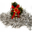 Christmas decoration in white tinsel - Stock Photo