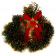 Christmas decoration in green tinsel. — Stock Photo