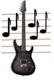 электрическая гитара и ноты. — Стоковое фото