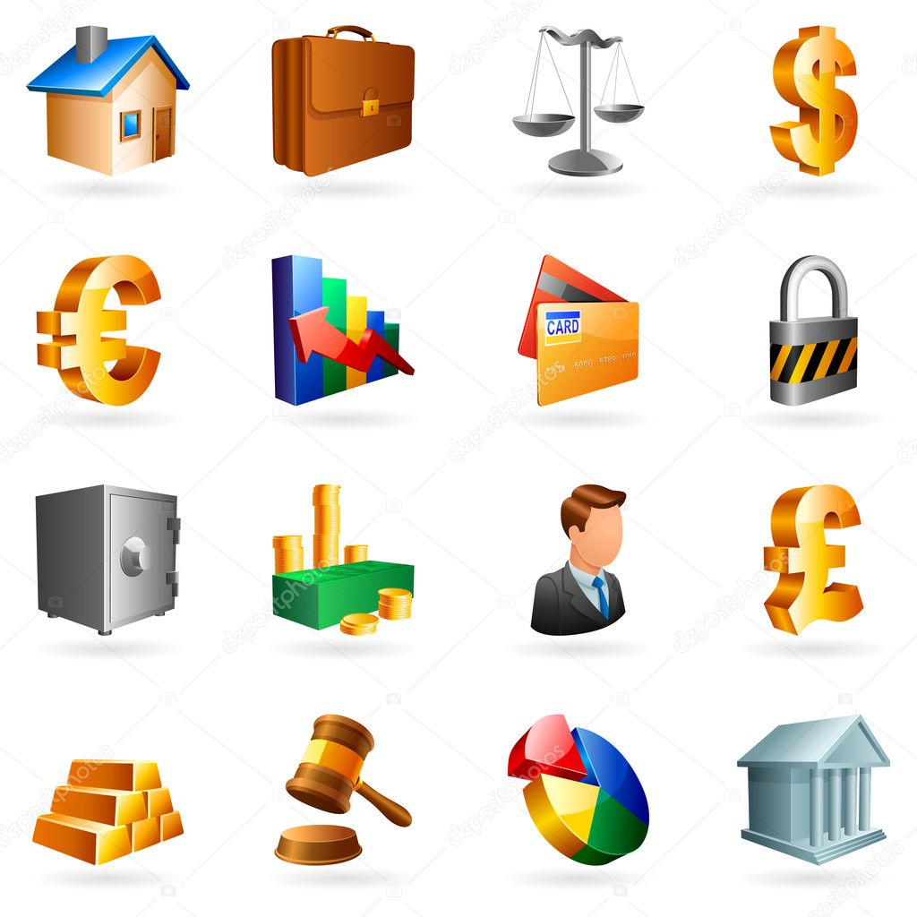 Set of 16 vector business and finance icons. — Stockvectorbeeld #1014507
