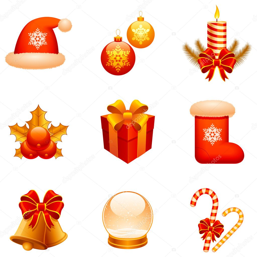 Set of 9 Christmas icons, isolated on white background. — Stock Vector #1015924