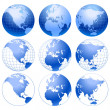 Stock Vector: Vector globe icons.
