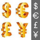 Vector currency symbols. — Vettoriale Stock