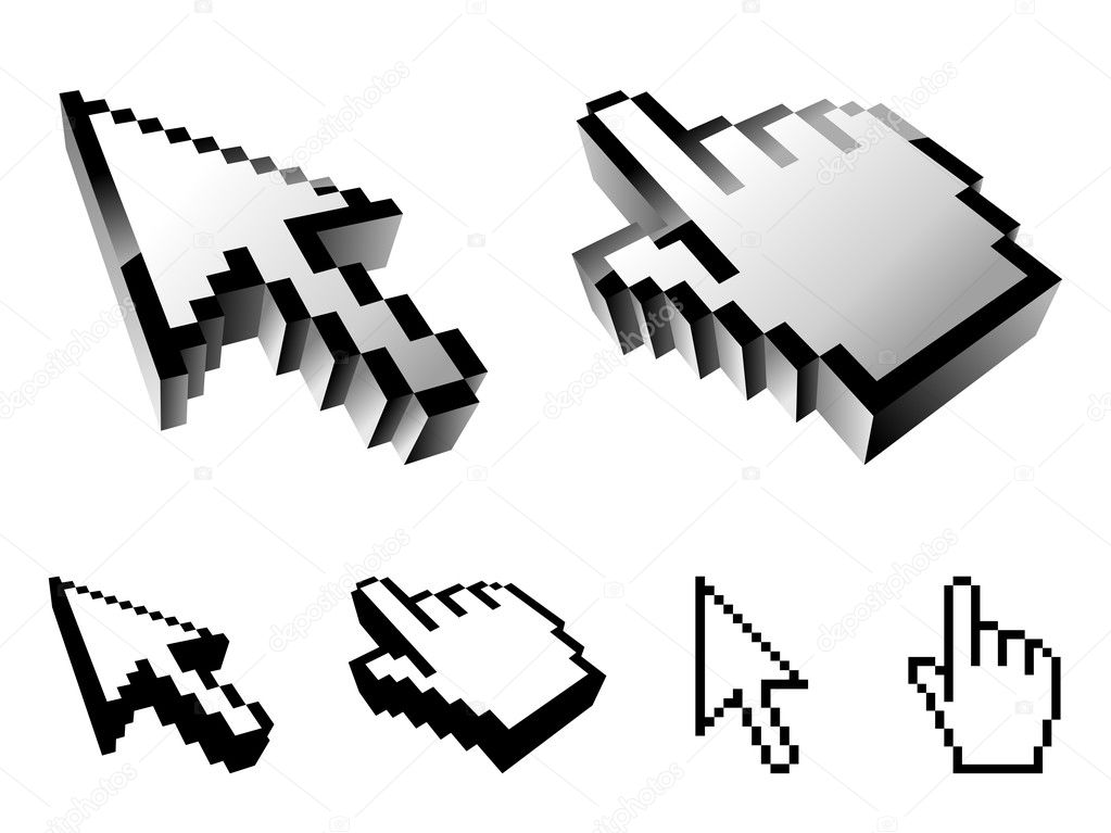 Set of 6 cursor designs, isolated on white background. — Stock Vector #1035124