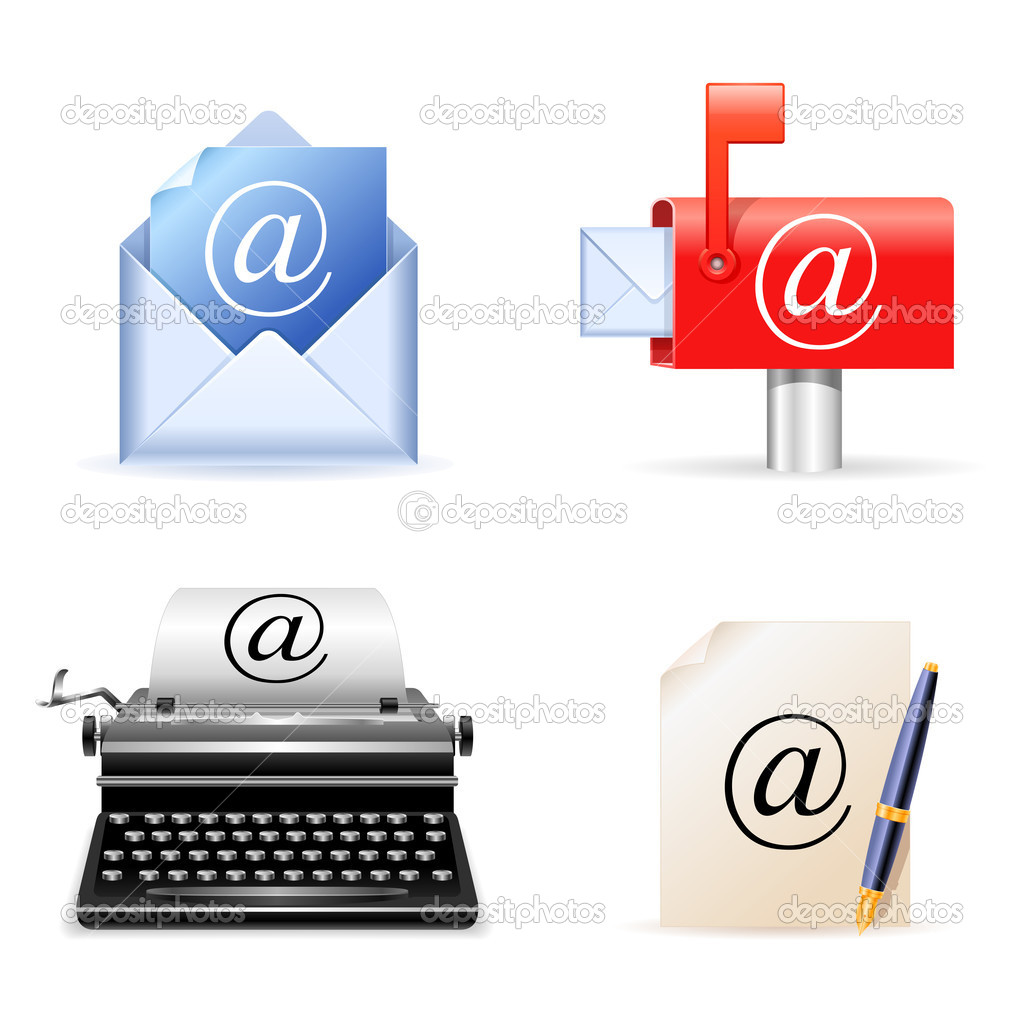 Set of 4 realistic e-mail icons.  Stock Vector #1035951