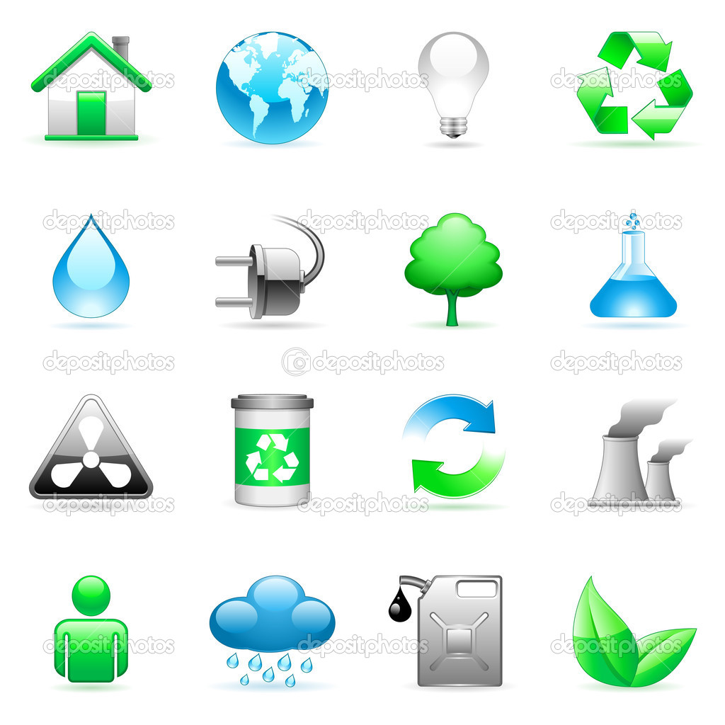 Set of 16 environmental icons. — Stock Vector #1036379