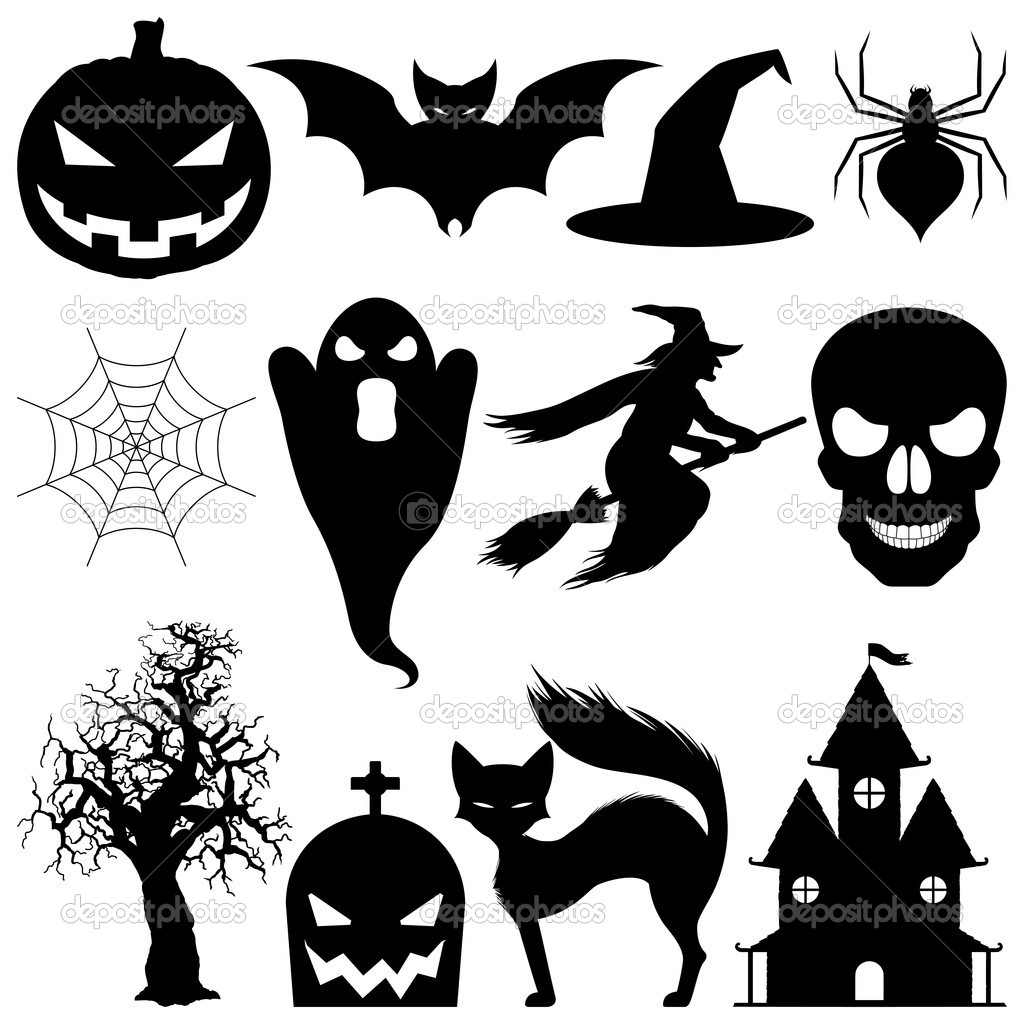 Set of 12 vector halloween elements. Black silhouettes, isolated on white background.  Stock Vector #1036643