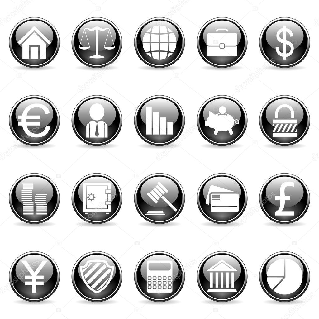 Set of 20 business and finance buttons. — Stock Vector #1037267