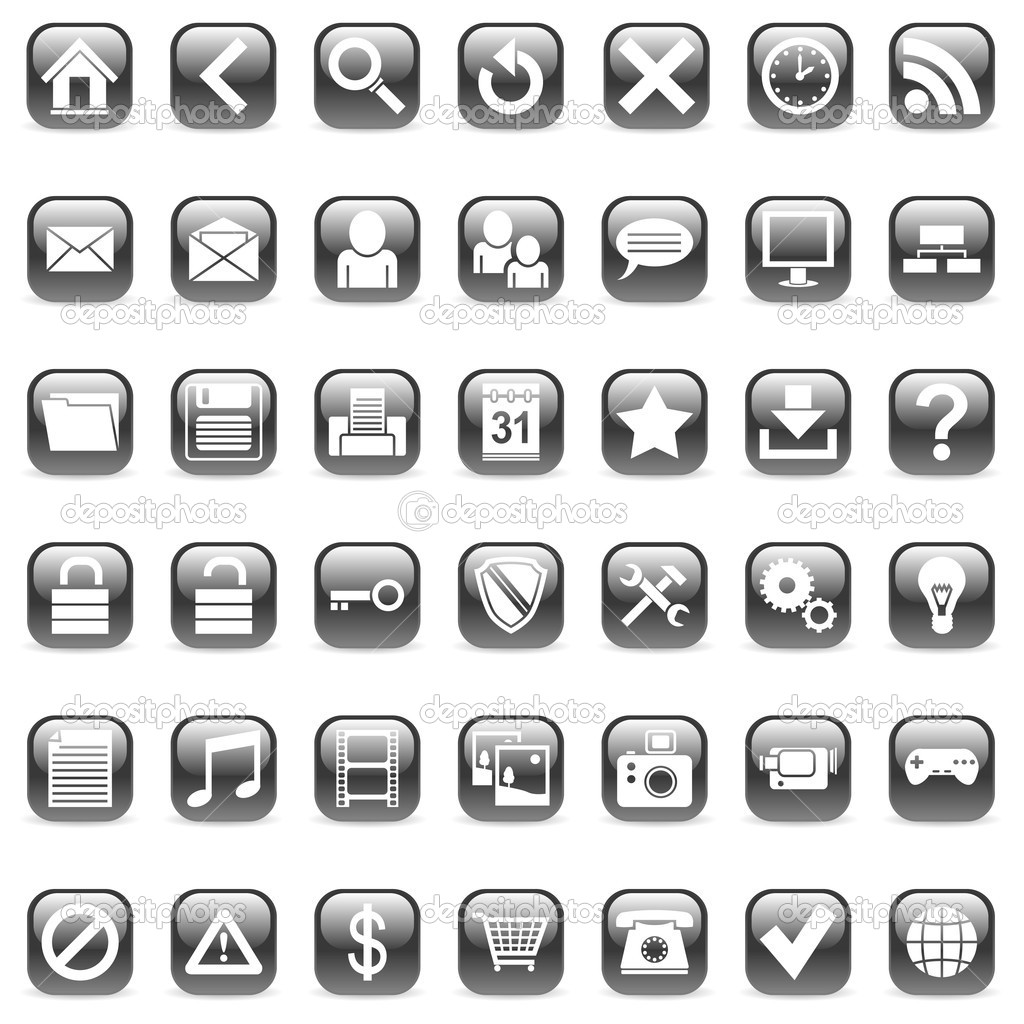 Set of 42 black icons for Web.  Stock Vector #1053153