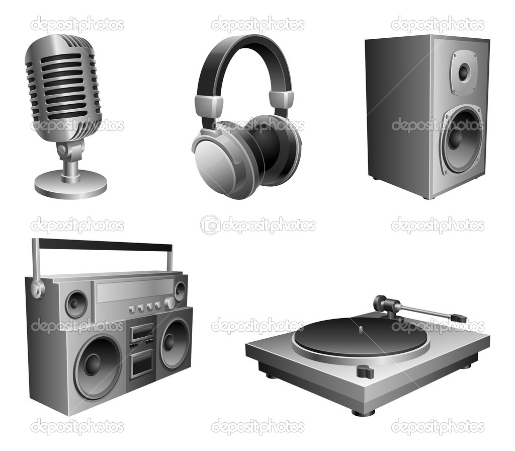 Set of 5 music devices, isolated on white background.   Stock Vector #1536644
