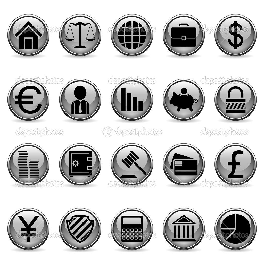 Set of 20 business and finance buttons. — Stock Vector #1537516