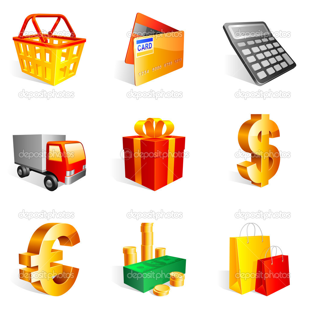 Set of 9 colorful shopping icons. — Stock Vector #1956755