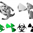 Stock Vector: Biohazard and radiation signs.