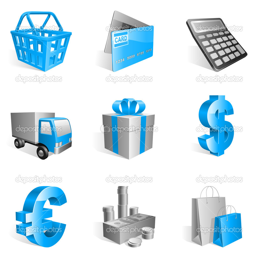 Set of 9 blue shopping icons. — Stock Vector #2050374