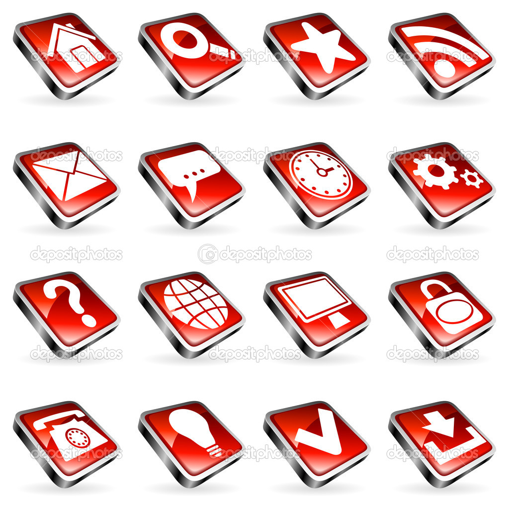 Set of 16 red web icons.  — Image vectorielle #2503597
