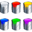 Paint buckets. — Stock Vector