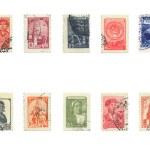 Постер, плакат: Vingtage Ussr Postal Stamps