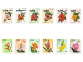 Cuban Stamps With Diffrent Flowers — Stock Photo