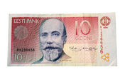 Estonian 10 Krones Banknote — Stock Photo