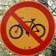Stop Cycling Road Sign - Stock Photo