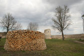 Firewood In Izborsk Castle — Stock Photo