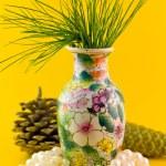 Pines branch in vase — Stock Photo