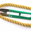 Scissors and golden rope — Stock Photo